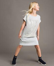 Minikleid aus Stretch-Fleece mit Strass Hellgrau-Mélange Kind 191GJ2463-0S