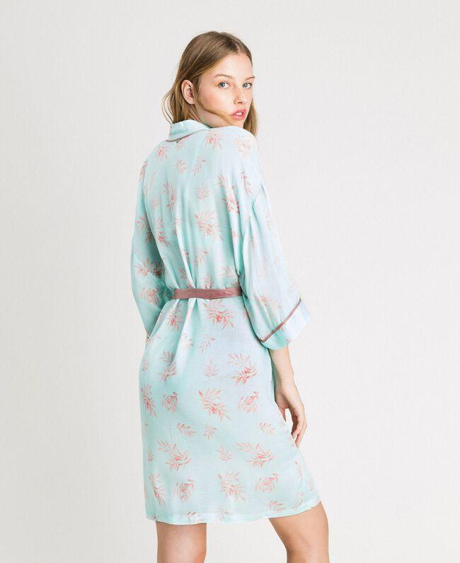 Robe de chambre en jacquard à imprimé floral Imprimé Feuilles Bleu Mousse Femme 191LL2FDD-03