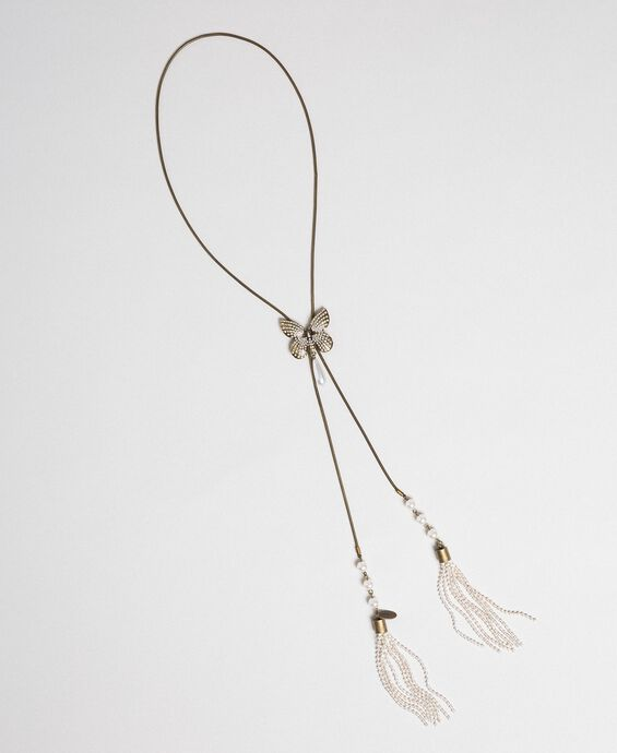 Choker with butterfly and tassels