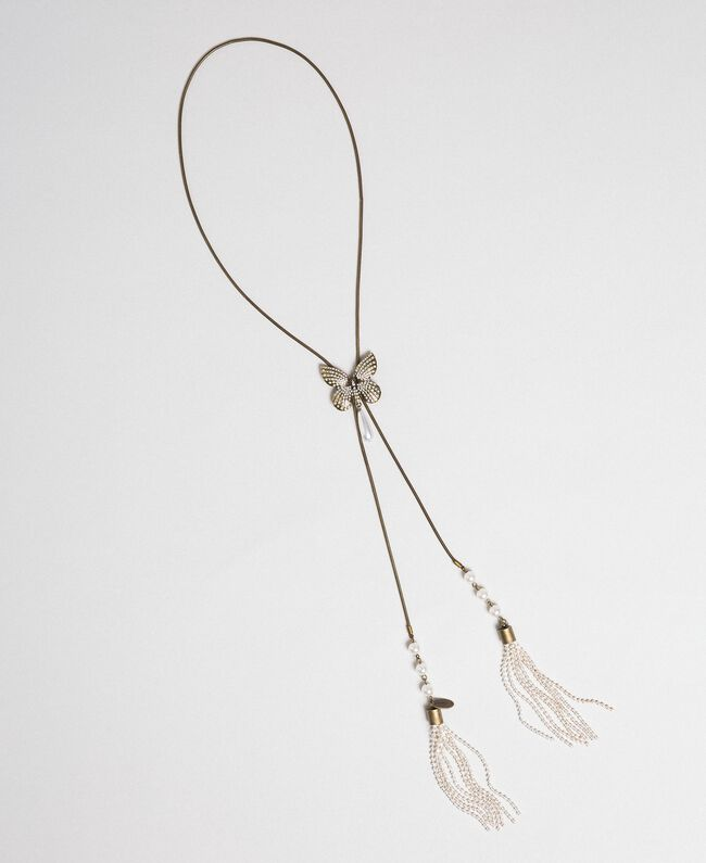Halskette mit Schmetterling und Quasten Altmessing Frau 192TA4362-01