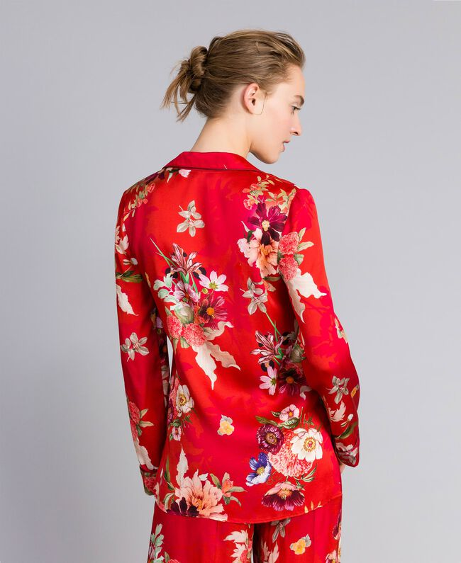 Floral print satin shirt Red Garden Print Woman PA829R-03