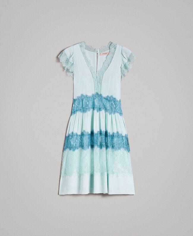 promo code d214f d22ac Georgette-Kleid mit Spitze Frau, Blau | TWINSET Milano