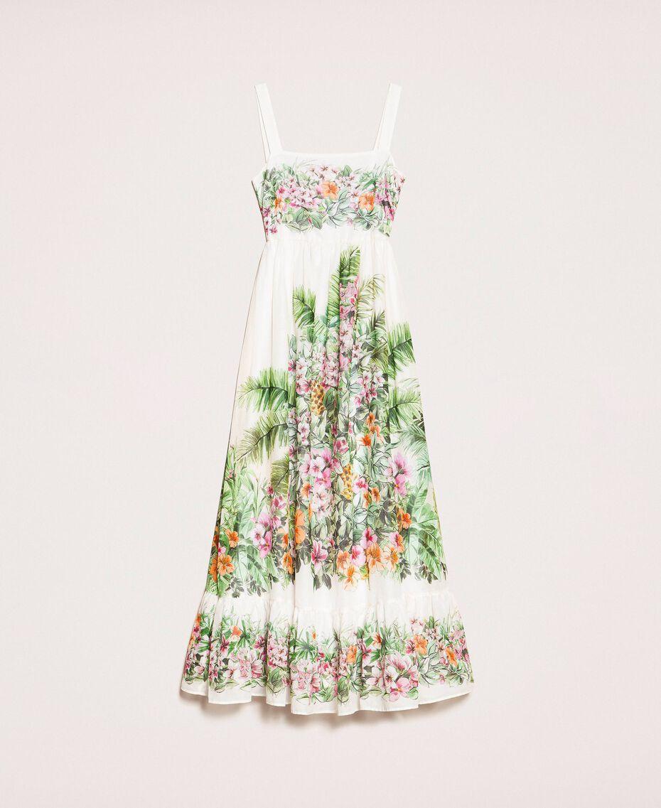 Vestido largo con estampado de flores Estampado Jungle Flowers Nieve Mujer 201TT2483-0S