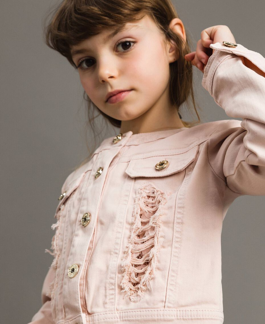 Bull stretch jacket with lace Blossom Pink Child 191GJ2062-0S