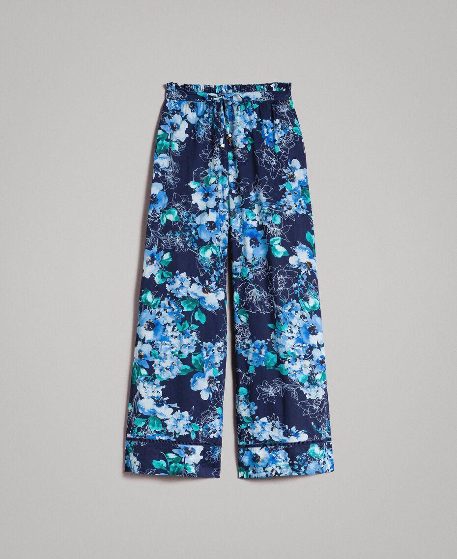 Pantalon palazzo avec imprimé floral Imprimé Fleur Multicolore Bleu Nuit Total Femme 191MT2293-0S