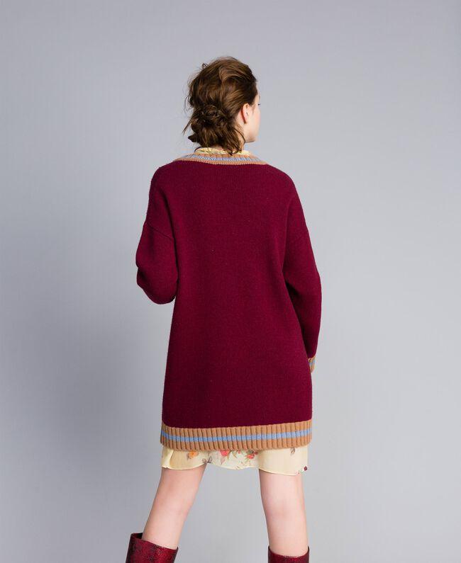 Jacquard wool blend dress Bordeaux Woman PA83HQ-03