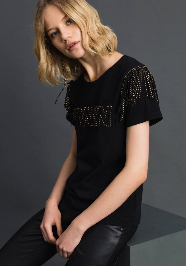 Flocked logo T-shirt with studs and fringes