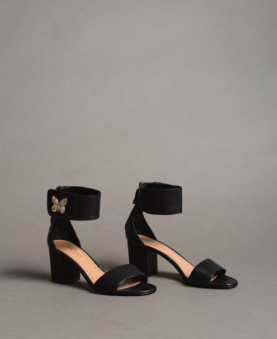 Leather sandals with rhinestones butterfly