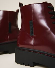 """Faux leather combat boots """"Wine tasting"""" Purple Woman 202MCT140-04"""