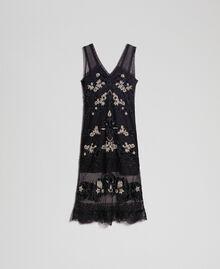 Robe en tulle plumetis avec broderie florale Noir Femme 192TT2042-0S