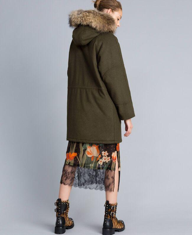 Parka en drap avec col en fourrure Vert Forêt Femme TA821D-03