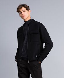 Boiled wool bomber jacket Black Man UA83CB-01