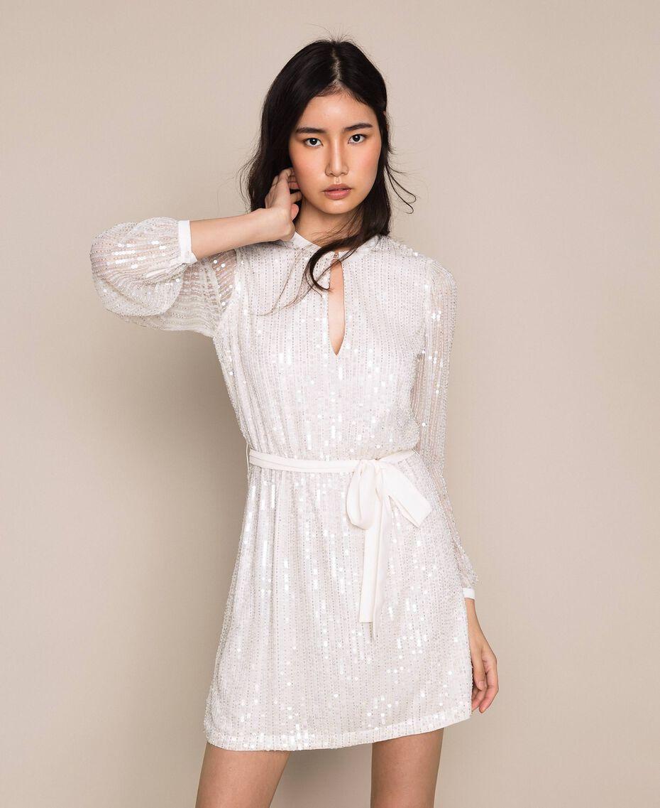 Платье, полностью расшитое пайетками и канителью Слоновая кость женщина 201TP2051-01