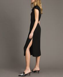 Robe longue en lin envers satin Noir Femme 191TT2303-04