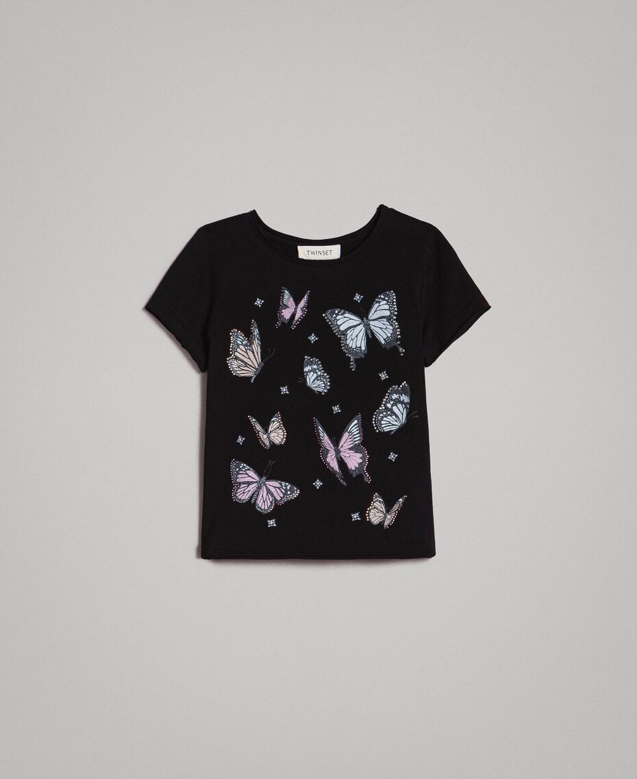 T-Shirt aus Jerseystoff mit Schmetterlingen und Strass Schwarz Kind 191GJ2310-01