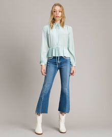 Pleated silk blend shirt Acquamarine Woman 191TP2140-01