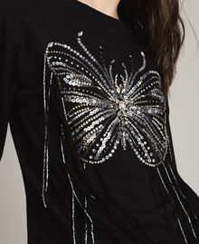 Butterfly embroidery and fringe sweatshirt Black Woman 191TP2590-01
