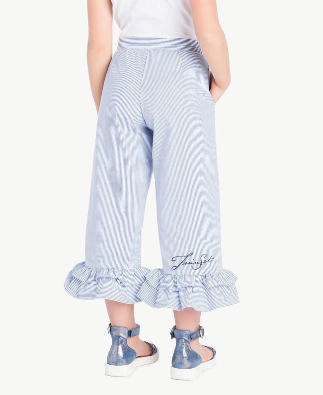 Hose aus Popeline Streifen-Jacquard Azur Kind GS82LT-04