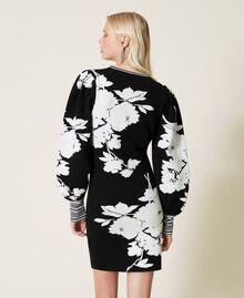 Robe jacquard florale Jacquard Fleurs Blanc «Neige»/ Noir Femme 212TP3540-04