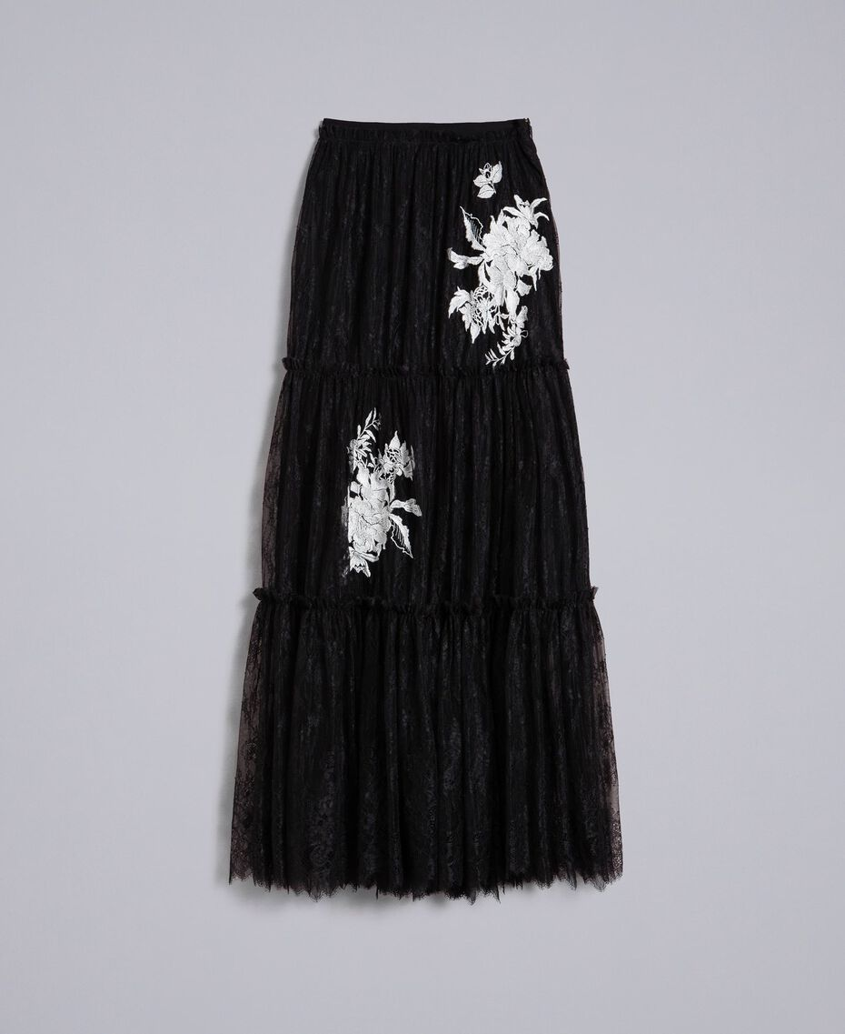 Jupe longue en dentelle de Valenciennes Noir Femme PA824N-0S