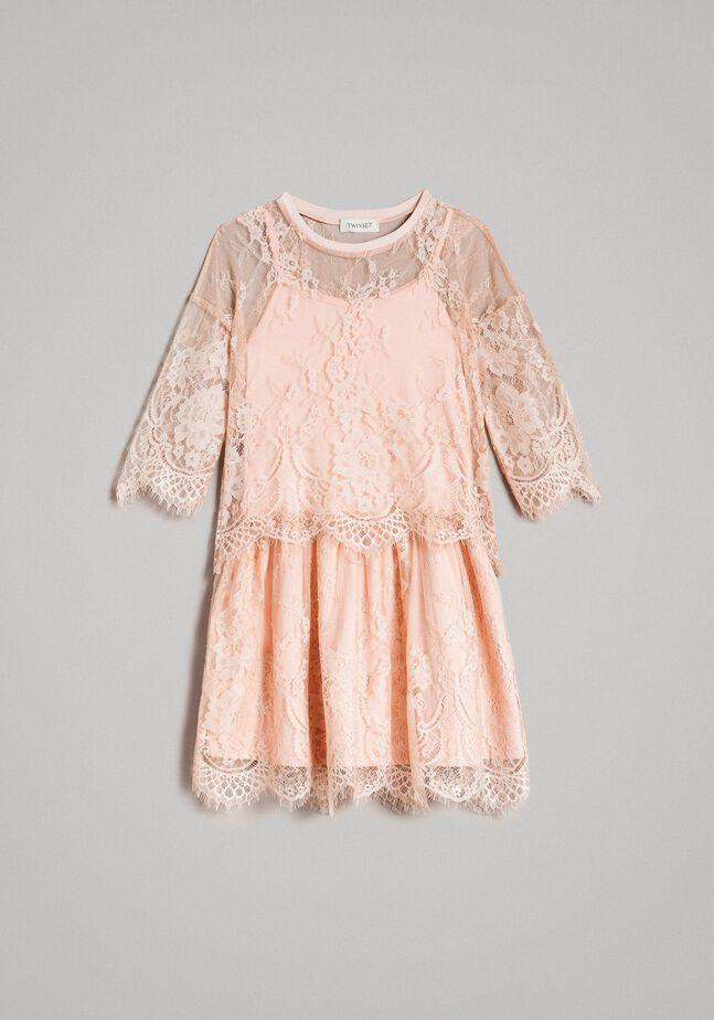 Jersey dress and lace blouse