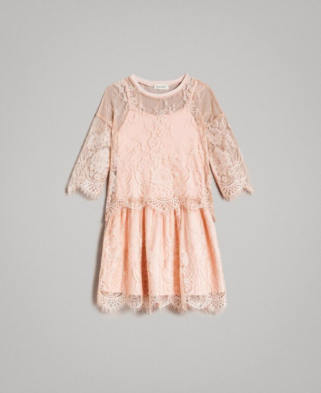 Jersey dress and lace blouse Blossom Pink Child 191GJ2740-01