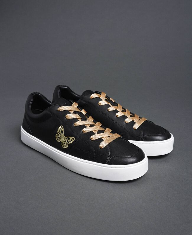 Leather trainers with butterfly embroidery Black Woman 192TCP06A-01