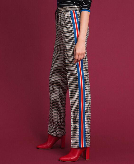 Pantalon palazzo avec motif pied-de-poule