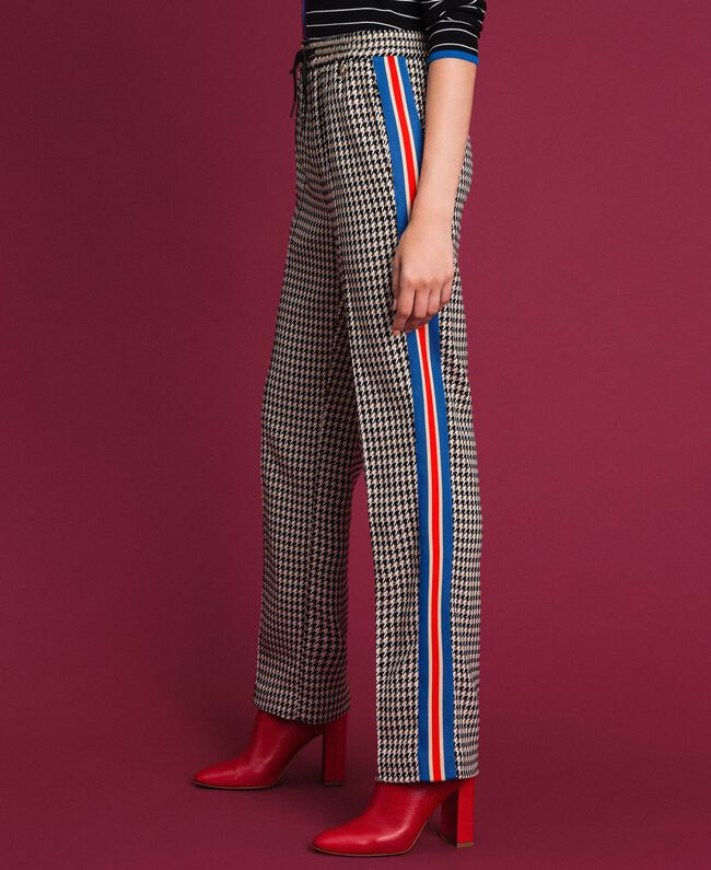 Pantaloni a palazzo in pied-de-poule Pied De Poule Giglio / Creme Caramel Donna 192MT2051-01