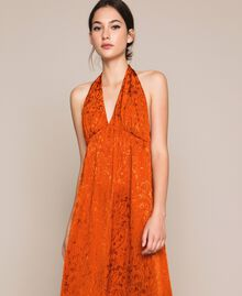 "Long jacquard dress with floral design ""Ace"" Orange Woman 201LB2HAA-04"