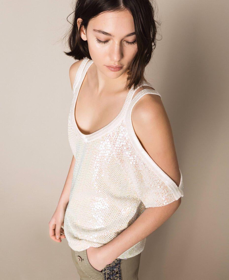 Maglia in punto rete con paillettes Bianco Antique White Donna 201TT3020-02