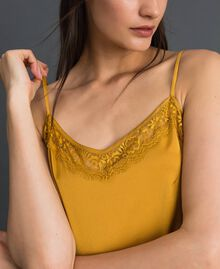 Satin and lace slip Saffron Yellow Woman 192MP2132-04
