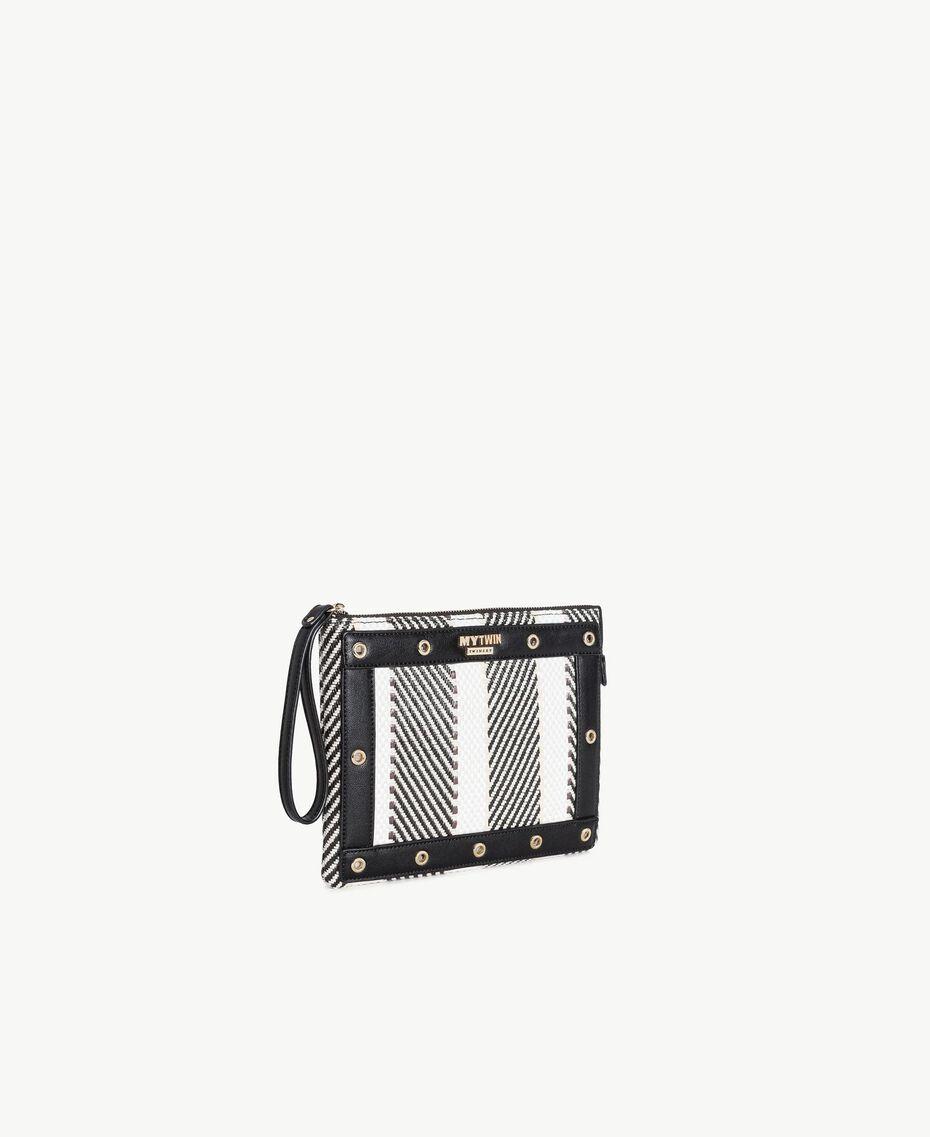TWINSET Multicolour clutch bag Multicolour Black / Cream / Coffee Woman RS8TFE-02