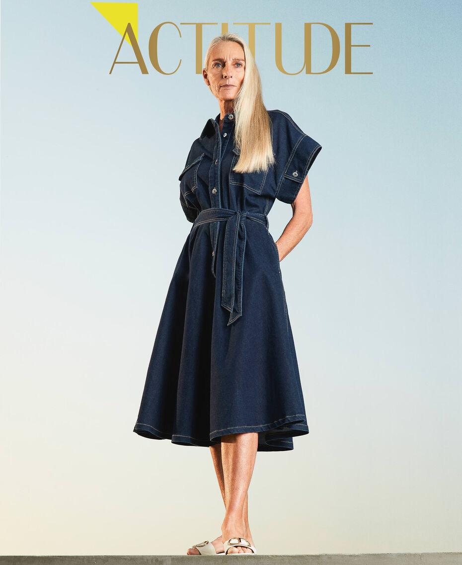 "'Antares"" denim shirt dress Dark Denim Woman 211MT211C-01"