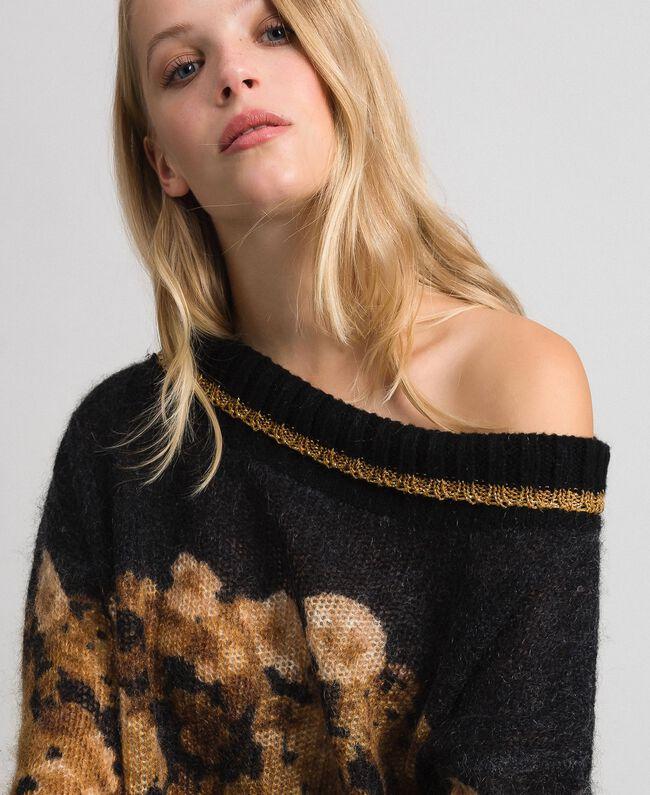 Printed mohair jumper Black Baroque Flower Stripes Mix Print Woman 192TT3332-04