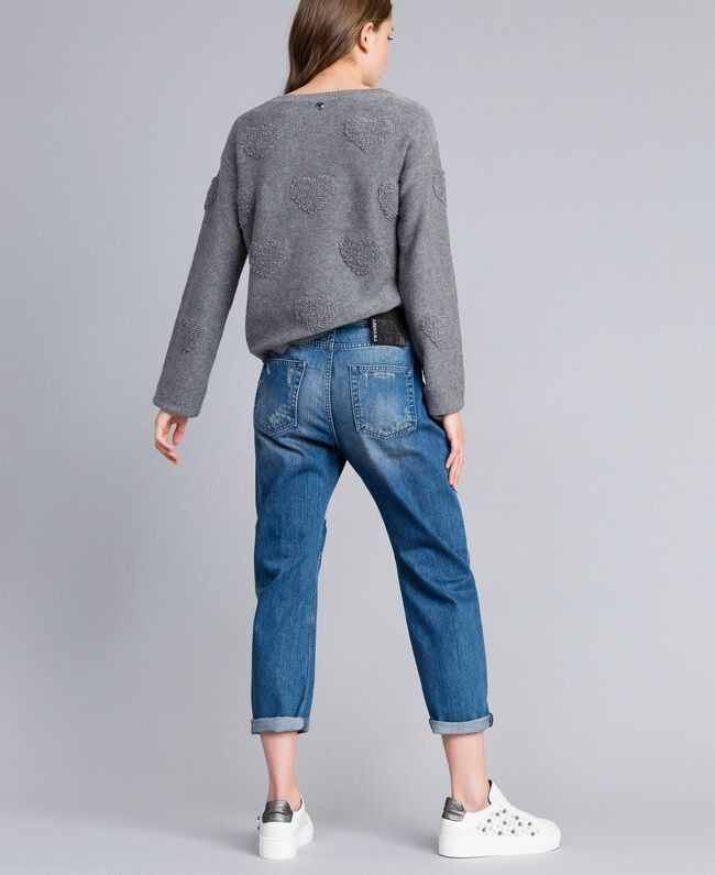 Embroidered girlfriend jeans Denim Blue Woman JA82V1-03
