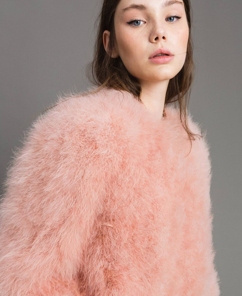 Feather bomber Pink Pearl Woman 191TP2080-05