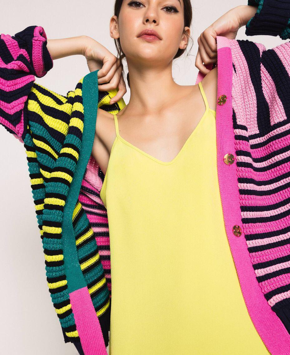 Maxicardigan mit mehrfarbigen Streifen Multicolor Frau 201ST3100-05