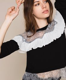 Jumper with two-tone lace and pleats Black Woman 201TT3141-04