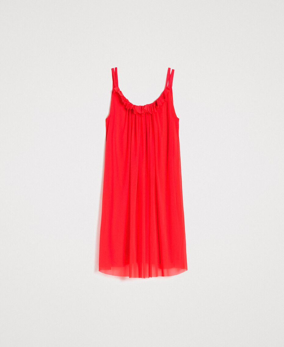 "Tulle dress with shoulder straps ""Framboise"" Red Woman 191LM2FCC-0S"