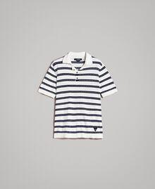 "Crêpe cotton striped polo shirt Two-tone Opaque White / ""Blackout"" Blue Man 191UT3030-0S"