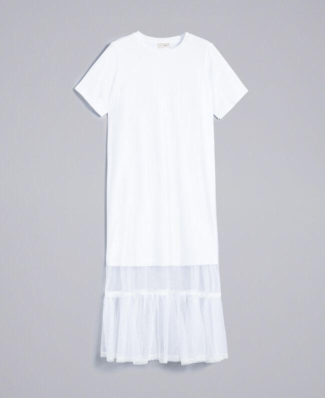Mini abito in jersey e tulle Donna, Bianco   TWINSET Milano
