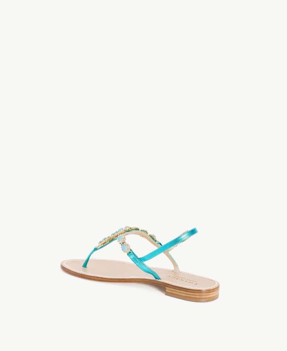 TWINSET Rhinestones sandals Turquoise Woman CS8TEC-03