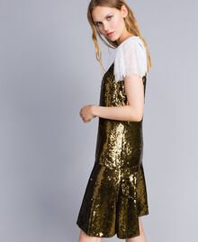 """Sequin dress """"Military"""" Green with Gold Sequins Woman TA82DD-02"""