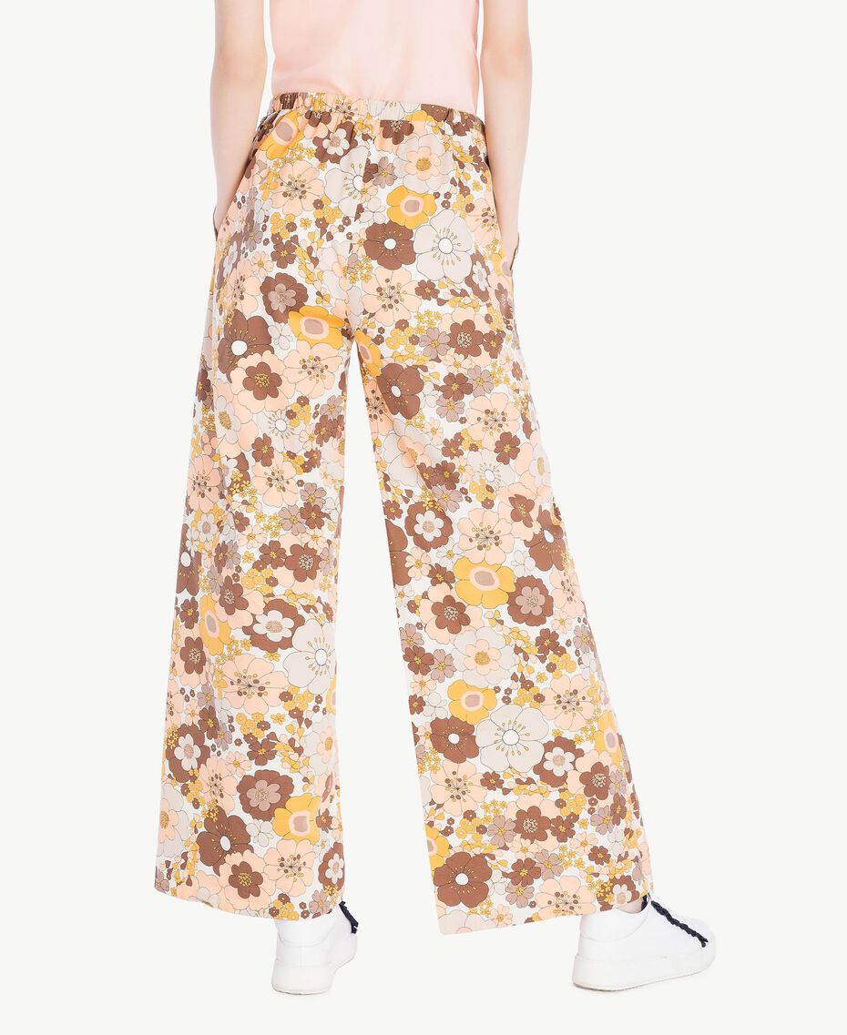 "Printed palazzo pants Flat Flower Print ""Rope"" Beige Woman SS82PF-03"