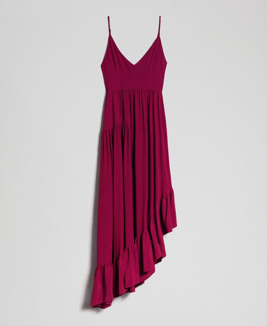 Asymmetrisches Kleid aus Crêpe de Chine aus Seidenmischung Rote-Bete-Rot Frau 192TP2384-0S