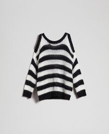 "Striped mohair jumper Black / ""Papyrus"" White Stripe Woman 192TP3271-0S"