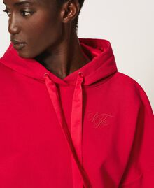 "Cropped hoodie ""Cerise"" Fuchsia Woman 202MP2163-05"