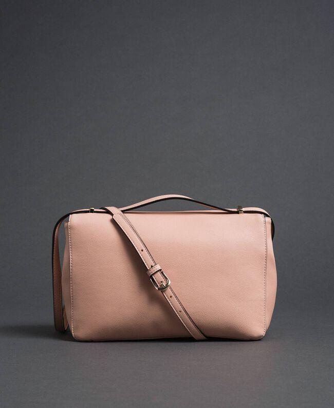 Sac à bandoulière en similicuir avec perles et chaînes Rose Pâle Femme 192MA7050-03