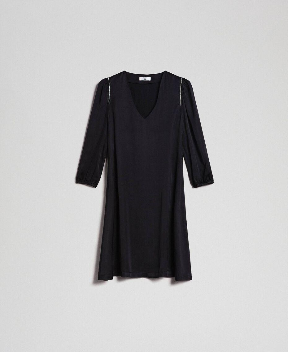 Kleid aus Satin mit Strass Schwarz Frau 192LI21SS-0S